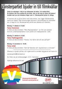 Affisch om inbjudan till filmkvällar för hösten 2016