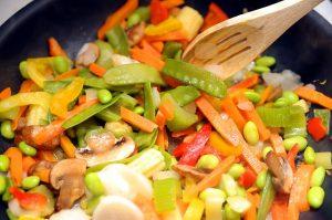 Vegansk mat i stekpanna